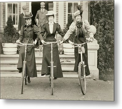 Three Women On Bicycles, Early 1900s Metal Print by English Photographer