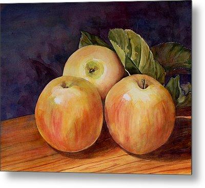 Three Yellow Apples Still Life Metal Print by Blenda Studio