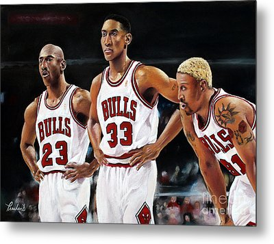 Threepeat - Chicago Bulls - Michael Jordan Scottie Pippen Dennis Rodman Metal Print