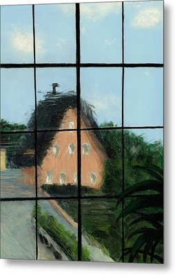 Through An Old Glass Window Metal Print by Karyn Robinson