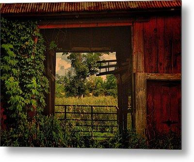 Through The Barn Door Metal Print