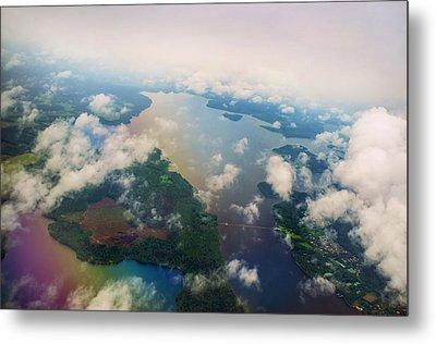 Through The Clouds. Rainbow Earth Metal Print
