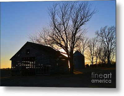 Through The Corn Crib Metal Print