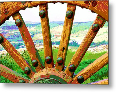 Metal Print featuring the photograph Through The Old Wheel by Marwan Khoury