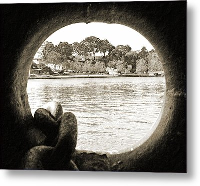 Through The Porthole Metal Print by Holly Blunkall