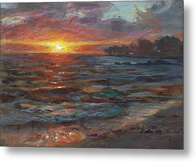 Through The Vog - Hawaii Beach Sunset Metal Print by Karen Whitworth