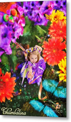 Thumbelina Looks Up Holding Her Butterfly In Fairy Tale Garden Metal Print by Fairy Tales Imagery Inc