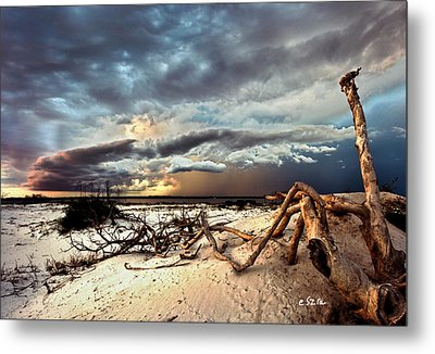 Metal Print featuring the photograph Thunder Storm Clouds Desert Landscape Sand Dune Art Prints by Eszra Tanner