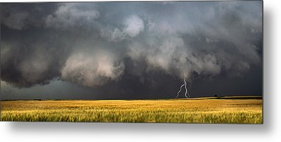 Thunderstorm Advancing Over A Field Metal Print
