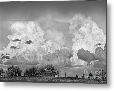 Thunderstorm Clouds And The Little House On The Prarie Bw Metal Print by James BO  Insogna