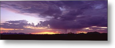 Thunderstorm Clouds At Sunset, Phoenix Metal Print by Panoramic Images