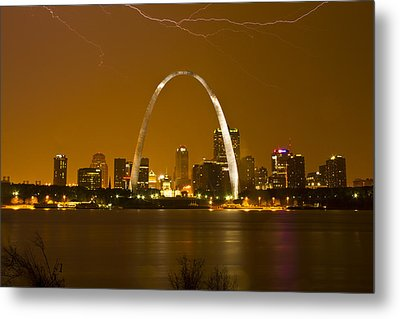 Thunderstorm Over The City Metal Print by Garry McMichael