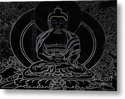 Tibet Buddha Black Metal Print by Kate McKenna