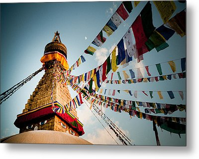 Tibetan Buddhist Prayer Flags Stupa Boudnath Metal Print by Raimond Klavins