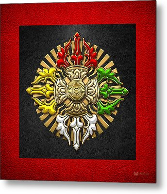 Tibetan Double Dorje Mandala - Double Vajra On Black And Red Metal Print by Serge Averbukh