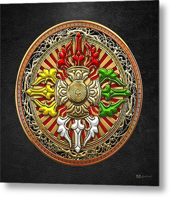 Tibetan Double Dorje Mandala - Double Vajra On Black Leather Metal Print by Serge Averbukh