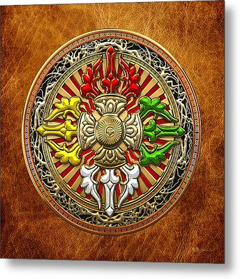 Tibetan Double Dorje Mandala - Double Vajra On Brown Leather Metal Print by Serge Averbukh
