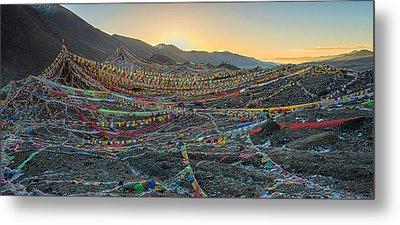 Tibetan Flag Sunrise Metal Print by James Wheeler