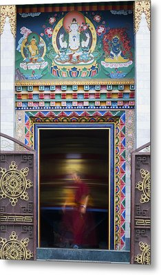 Tibetan Monk And The Prayer Wheel Metal Print by Tim Gainey