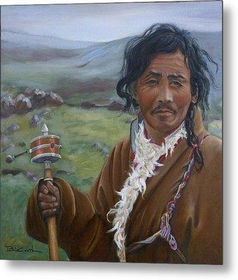Tibetan Nomad With Prayer Wheel Metal Print by Birgit Coath