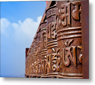 Tibetan Prayer Wheels Metal Print