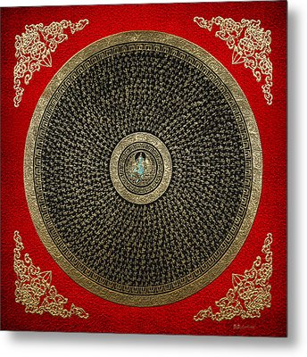 Tibetan Thangka - Green Tara Goddess Mandala With Mantra In Gold On Red Metal Print by Serge Averbukh