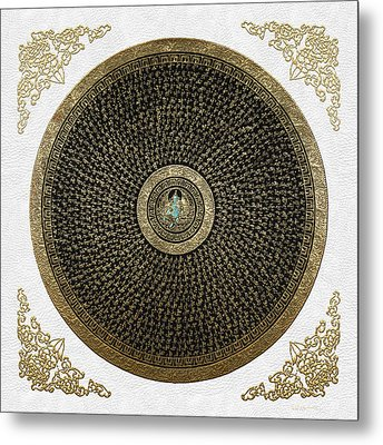 Tibetan Thangka - Green Tara Goddess Mandala With Mantra In Gold On White Metal Print by Serge Averbukh