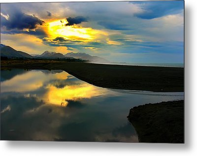Metal Print featuring the photograph Tidal Pond Sunset New Zealand by Amanda Stadther