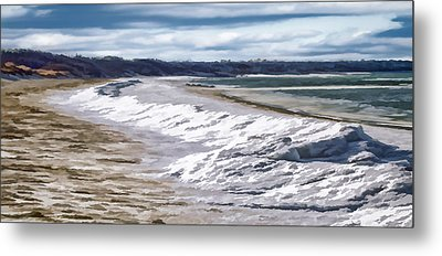 Metal Print featuring the photograph Tide Line Ice Photo Art by Constantine Gregory
