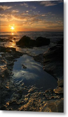 Tide Pool Reflection Metal Print