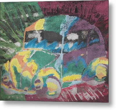 Metal Print featuring the painting Tie-dye Beetle by Thomasina Durkay