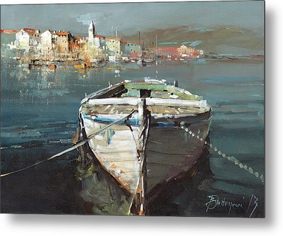 Tied Boat By The City Metal Print by Branko Dimitrijevic