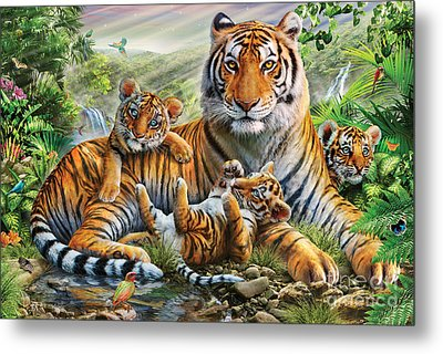 Tiger And Cubs Metal Print