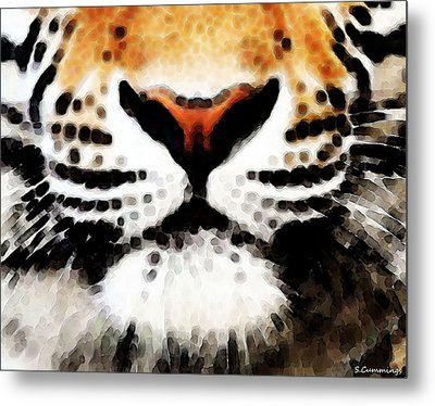 Tiger Art - Burning Bright Metal Print by Sharon Cummings