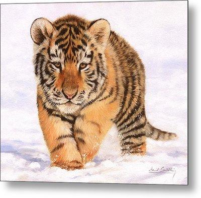 Tiger Cub In Snow Painting Metal Print