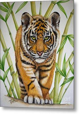 Tiger Cub Metal Print by Tish Wynne