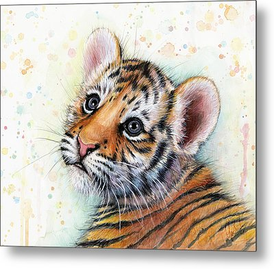 Tiger Cub Watercolor Art Metal Print by Olga Shvartsur