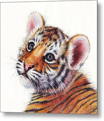 Tiger Cub Watercolor Painting Metal Print