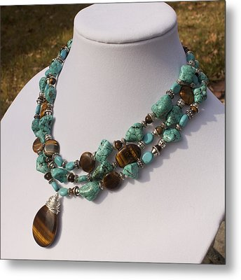 Tiger Eye And Turquoise Triple Strand Necklace 3640 Metal Print by Teresa Mucha