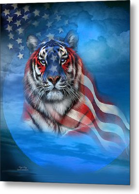 Tiger Flag Metal Print by Carol Cavalaris
