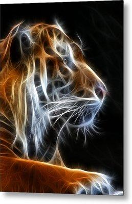 Tiger Fractal 2 Metal Print by Shane Bechler