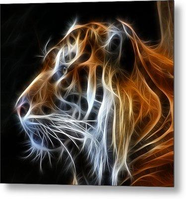Tiger Fractal Metal Print by Shane Bechler