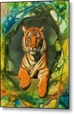 Tiger In Abstract Metal Print by Paul Krapf