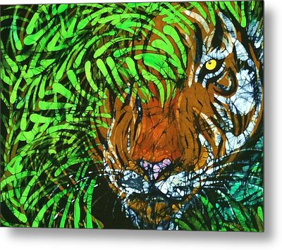Tiger In Bamboo  Metal Print by Kay Shaffer