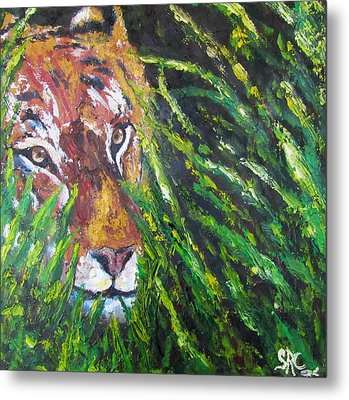 Tiger In The Grass  Metal Print