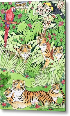 Tiger Jungle Metal Print by Suzanne Bailey