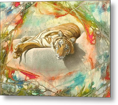 Tiger Laying In Abstract Metal Print by Paul Krapf