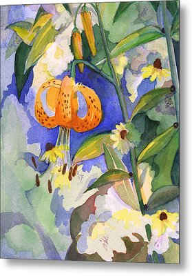 Tiger Lily In Dappled Light  Metal Print by Nancy Watson