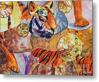 Metal Print featuring the painting Tiger Mosaic by Daniel Janda
