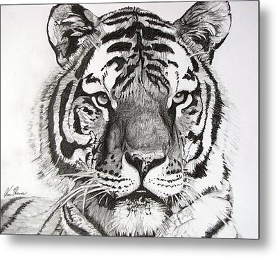 Tiger On Piece Of Paper Metal Print